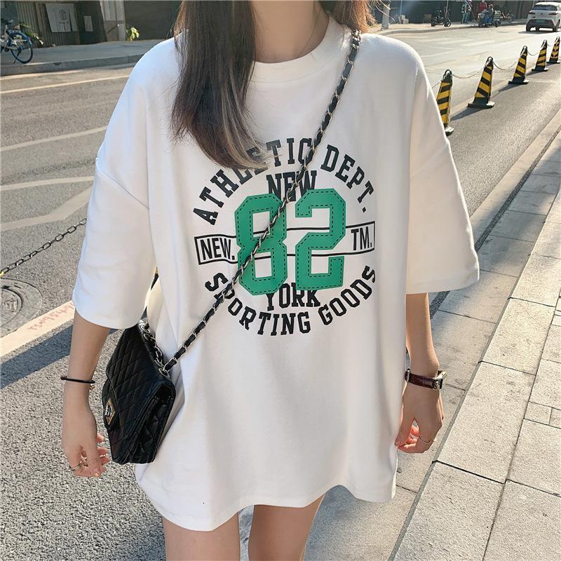 6535 Lettre de coton T-shirt à manches courtes d'été 2021 Coréen Nouveau Style paresseux Style rond Top