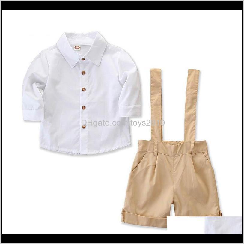 S Tops &Tees Baby, & Maternity Drop Delivery 2021 Ins Baby Boy Suits Spring Summer Clothing Sets Long Sleeve Shirt Suspender Shorts Kids Desi