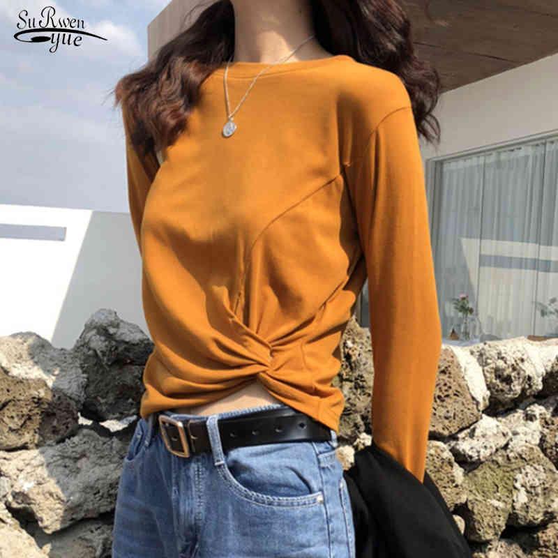 Manga larga de la primavera para las mujeres camisetas O Cuello Cross Short Office Ladies Cultivos Tops Casual Algodón Sólido Blanco Mujer Tshirts 13225 210508