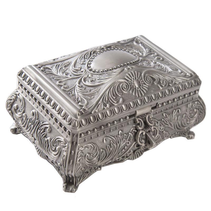 유럽의 고전 금속 보석 상자 전통적인 섬세한 장미 조각 패턴 합금 공주의 보석 케이스 결혼식은 세 가지 크기 호의