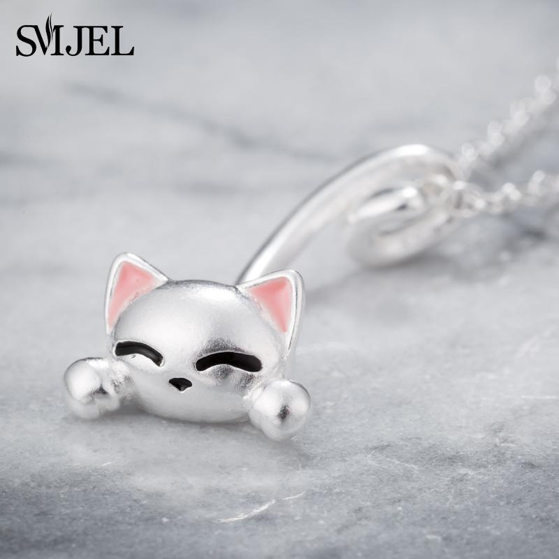 الكرتون القمر القط قلادة للنساء كل يوم مجوهرات الأزياء الفضة اللون ليتل جرس كيتي قلادة بيجو فام 2021 قلادات