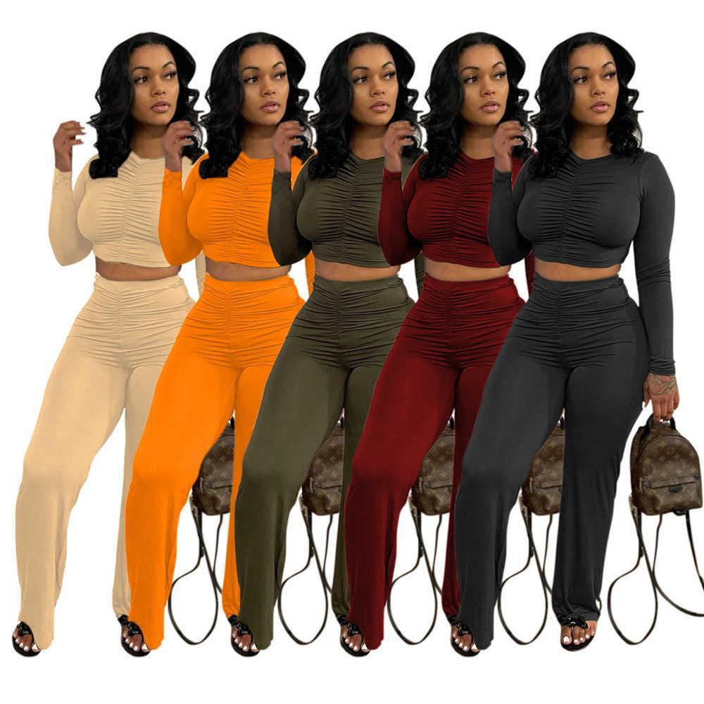 Tasarımcı Kadın Eşofman Iki Parçalı Kıyafetler Katı Renk Eğlence Pileli Uzun Kollu Geniş Bacak Pantolon Seti