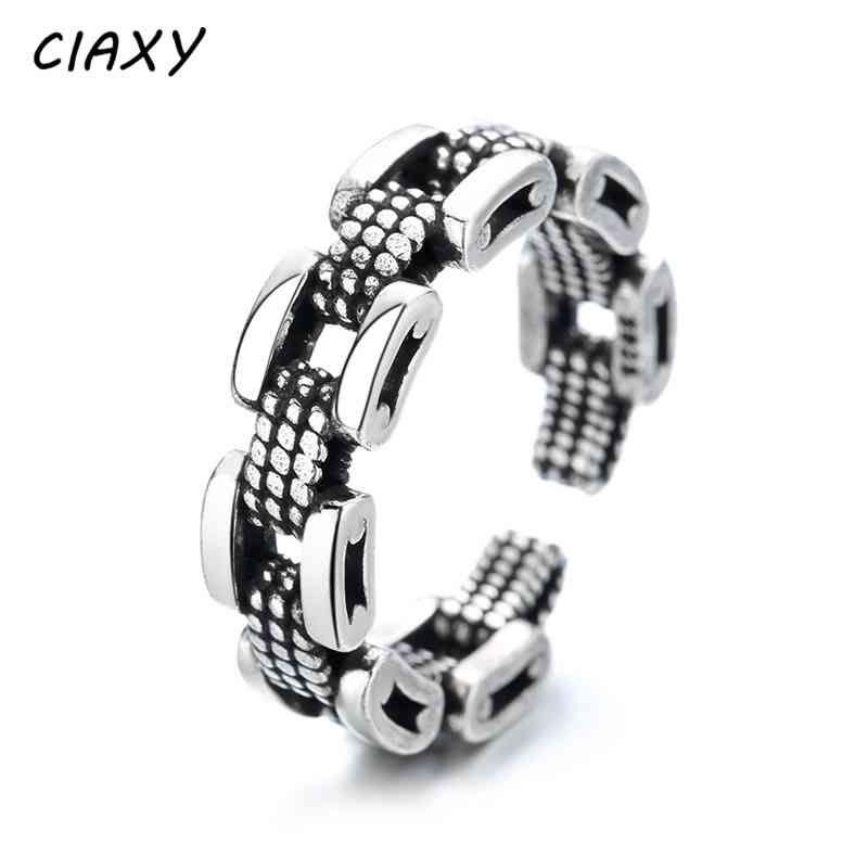 Anillo de plata esterlina Ciaxy-925, estilo punk, neutro, diseño de cadena, anillo dividido ajustable