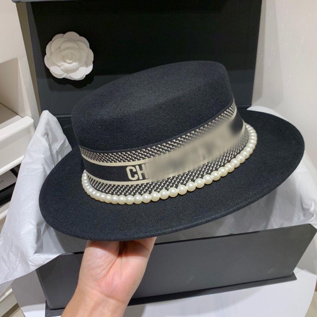 2020 dame design côté femmes mode laine chapeau seau concepteur chapeaux perles chapeaux hommes de luxe de la mode Chapeau Bucket