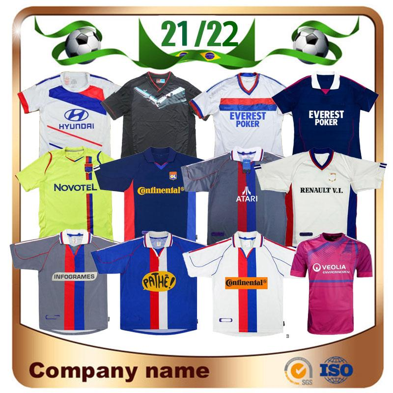 00 01 02 rétro olympique lyonnais lyonnais jersey de football 10 11 12 13 21 22 Govou Memphis Pjanic Benzema Juninho Chemise de football Uniforme
