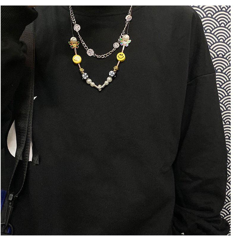 2021 Designer Mode Hip-Hop Halskette mit der gleichen Art von National Tide Dice-Schädel Butterfly Perle Smiley Gesicht Halskette