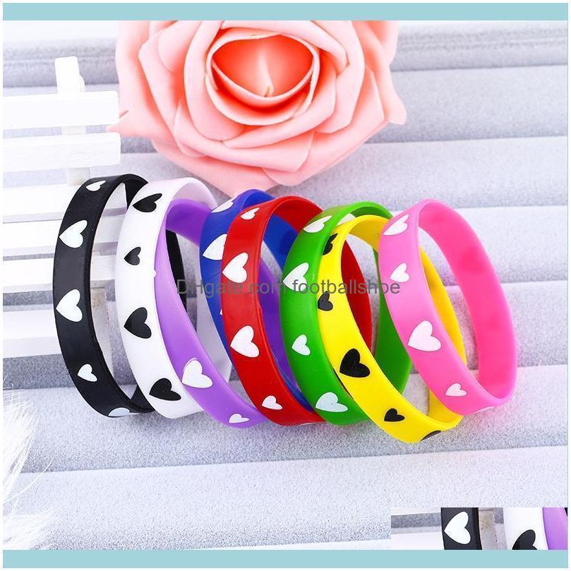 Bangle Bracelets Jewelrydesigners Taobao Gift Sports Sile Fashion Candy Color Love Bracelet Drop Delivery 2021 Nqdsx