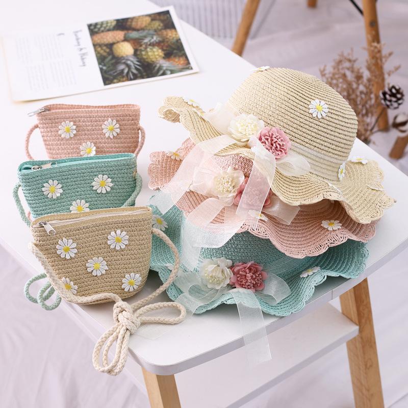 여름 소녀 짠된 모자 짚 리본 꽃 태양 어부 모자 부모 - 자식 보호 메신저 가방 2 개 세트 모자 모자 세트