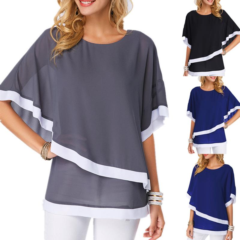 Camisa de gasa de las mujeres de verano 2020 manga de murciélago costura irregular suelta ocasional 5xl Tops grandes y blusa de tamaño grande para la túnica femenina X0521