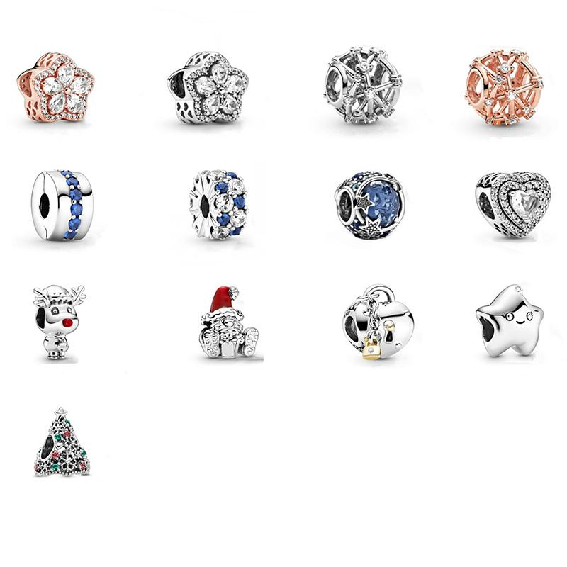 925 Sterling Silver Glitter Christmas Tree Charm Snowflake Pavé Bead, Santa Claus&Present Charms Beautiful Fit Pandora Bracelet Jewelry