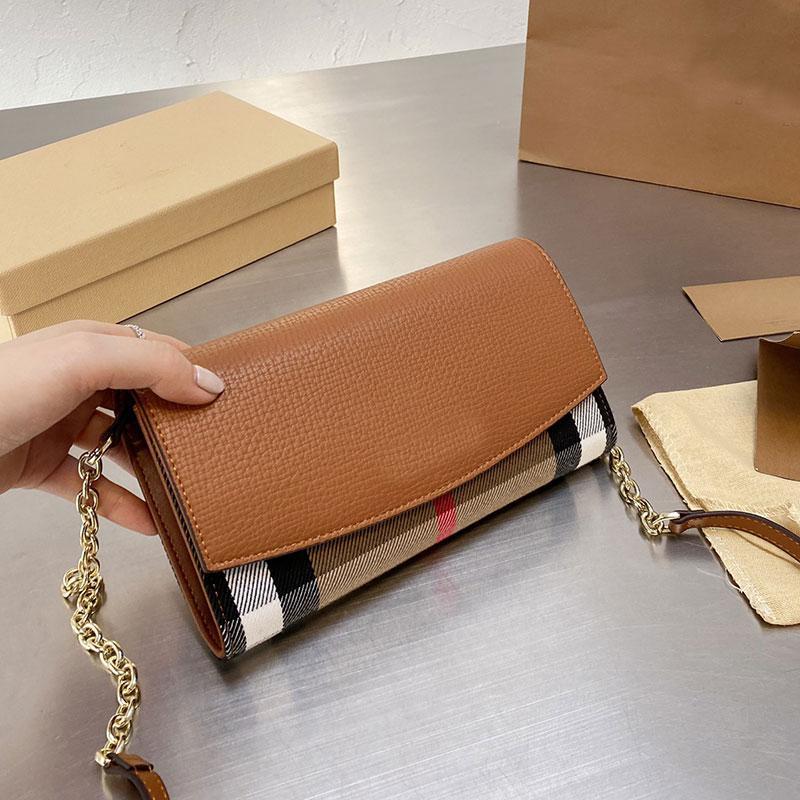 Chain Crossbody Bag Flap Handbags Wallet Plaid Messenger Bags Fashion Letter Canvas Leather Check Patchwork Color Handbag Purse Women Clutch