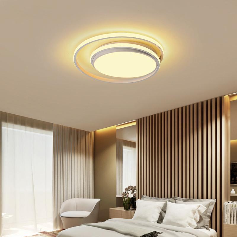 현대 LED 천장 샹들리에 램프 침실 생활 연구실 주방 원형 원형 검은 홈 장식 원격 조명기구 조명