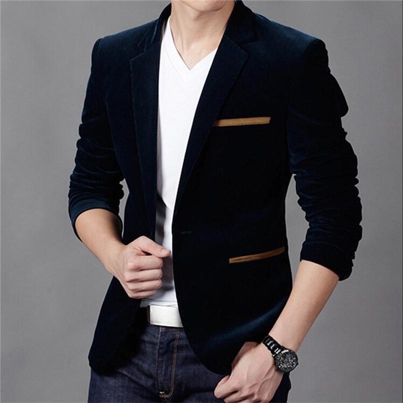 Mens Corduroy Blazers Autumn Spring Fashion Male Slim Fat Casual Suit Jacket Men Blazer Masculino Clothing Vetement Homme 210915