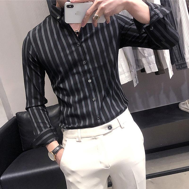 남자 셔츠 2021 봄과 겨울 슬림 영국 스트라이프 긴팔 느슨한 캐주얼 젊은 의류 셔츠