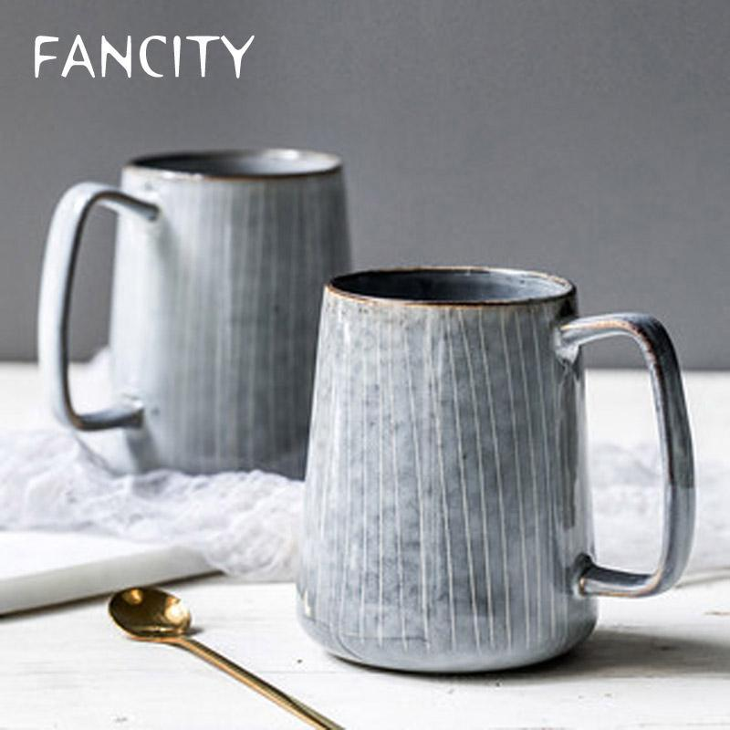 Mugs FANCITY Japanese Style Large-capacity Ceramic Water Cup Large Simple Striped Mug Home Retro Pot-bellied
