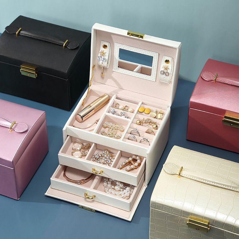 Double tiroir de rangement en cuir PU bijoux de grande capacité Boucles d'oreilles à trois couches 5 couleurs Boîte taille 17x14x13cm