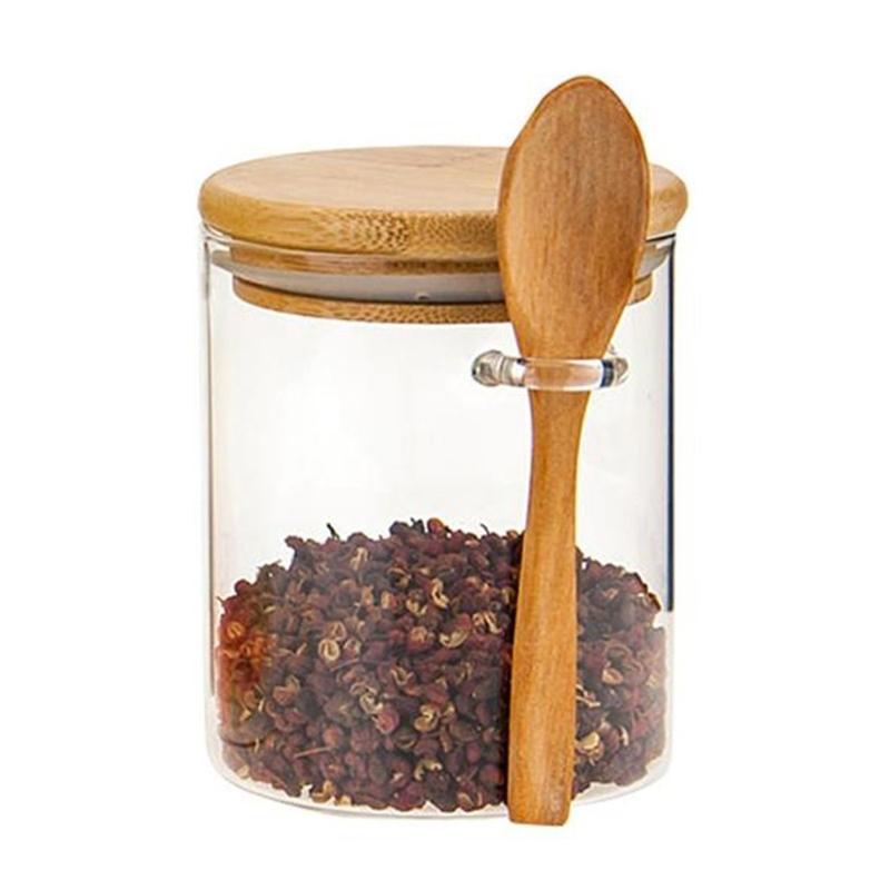 Sugar Bowl avec couvercle en bambou et cuillère Cuillère Clear Glass Batter Batter pour la cuisine Storag 210331