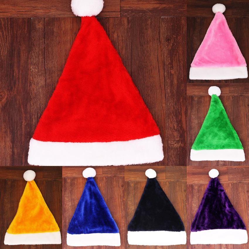 سانتا كلوز قبعة 7 ألوان قصيرة أفخم عيد الميلاد الديكور تأثيري قبعات 29 * 39 سنتيمتر الكبار حزب عيد الميلاد القبعات ZZA3331
