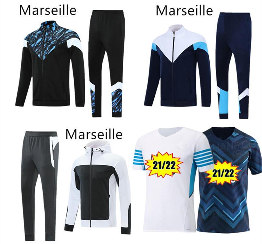 Olympique de Marseille Fussball Jersey 2021 2022 OM MAILTOT FUCE 21 22 MENSAUBEUGSUSTE Kapuzenfußballjacke Thauvin Payet Benedetto Trainings Trainingsanzug Sportbekleidung