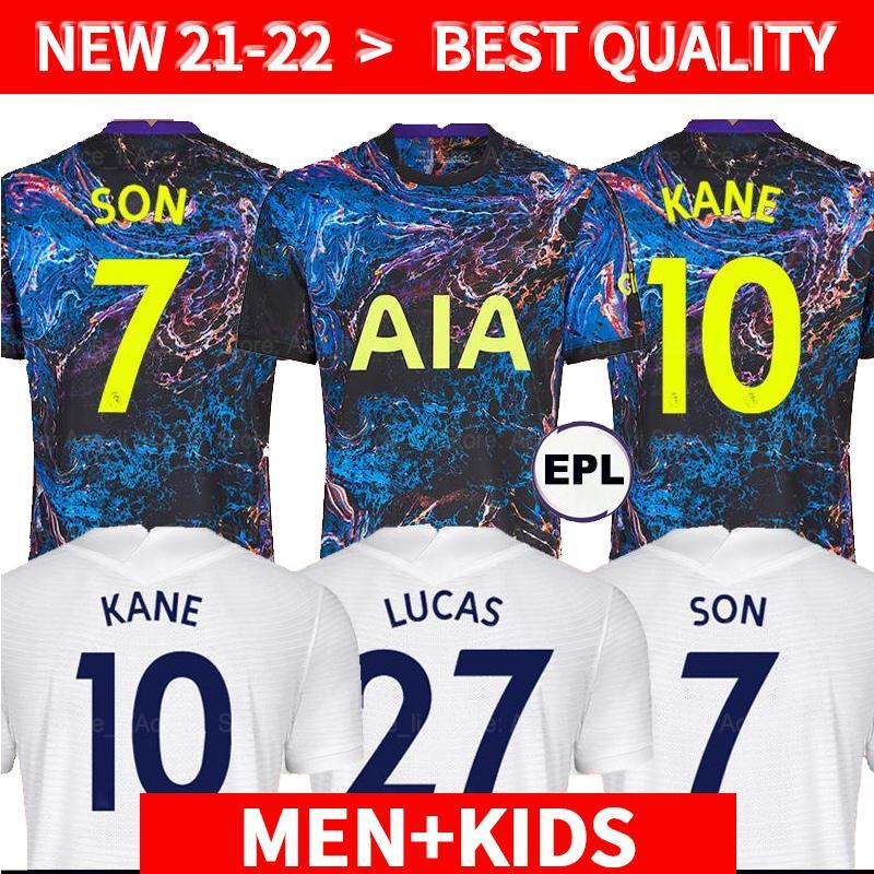Hommes + Kids Kit Ensembles 21 22 Kane Son Bergwijn Ndombele Soccer Jerseys Player Version 2021 2022 Lucas Dele Tottenham Jersey T-shirt de football Lo Celso Home Bale AlDult