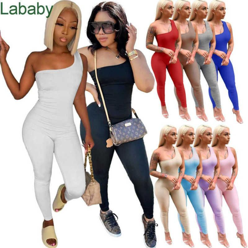 Women Jumpsuits Designer Slim Sexy Clothes One Shoulder Sleeveless Omesies Pne Piece Pants Solid Colour Hip Lifting Sports Rompers