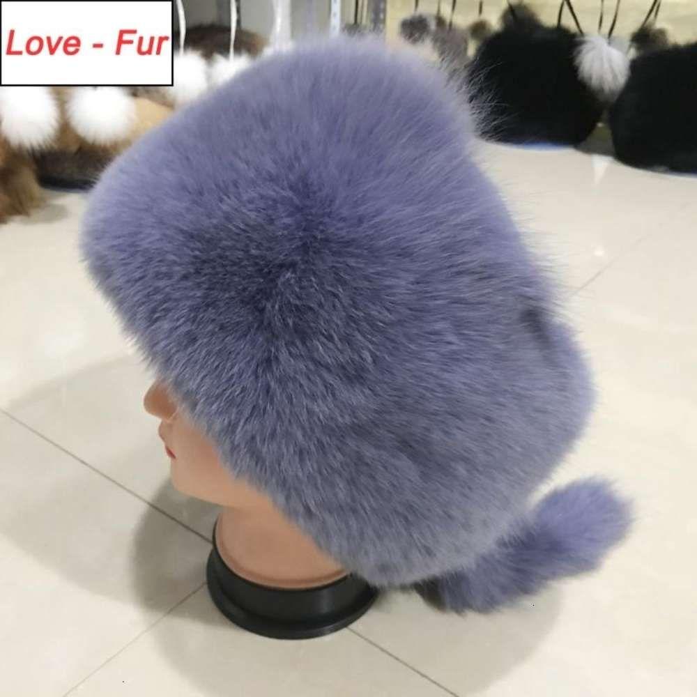 2020 New Poppular Natural Real Fur Hat Winter Women Adjustable Size 100% Real Fur Cap Warm Russia Caps