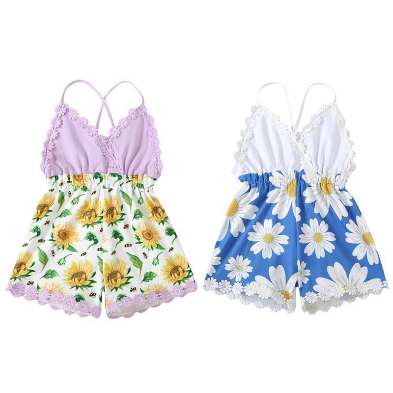 Monumentos 0-3 años Infant Baby Ramper Kids Girls Daisy Flower Imprimir V-cuello con cuello en V Draftsuit Playuit para el verano blanco / púrpura
