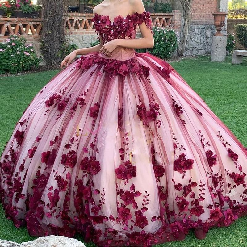 Romantic 3D Flower Quinceanera Dresses 2021 Off the Shoulder Lace Appliques Bead Prom Gown Charming Junior Girls Pageant Dress