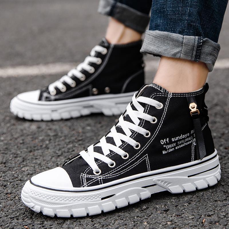 2021 Bahar Yeni Kore Tarzı Nefes Yüksek Üst Erkek Tuval Ayakkabı Trendy Rahat Kurulu Ayakkabı Çok Yönlü Öğrenci Ayakkabı