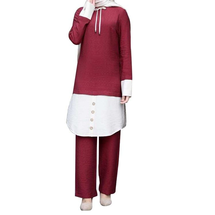 Women Muslim Contrasting Color Top Pants Suit