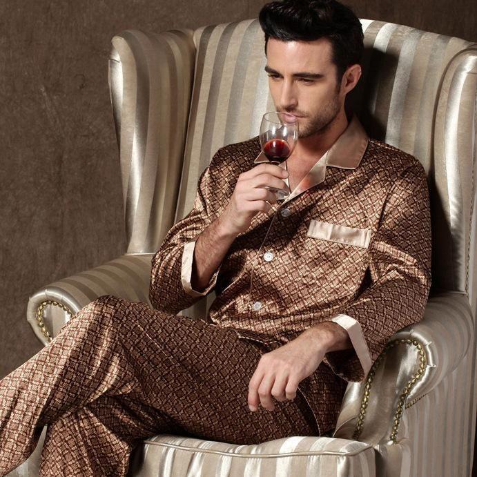Erkek Pijama Uyku Giyim Erkekler Erkek Tasarımcı Pijama Gecelikler Uzun Kollu Pantolonlar Için Pantolon Ince Buz Ipek Set