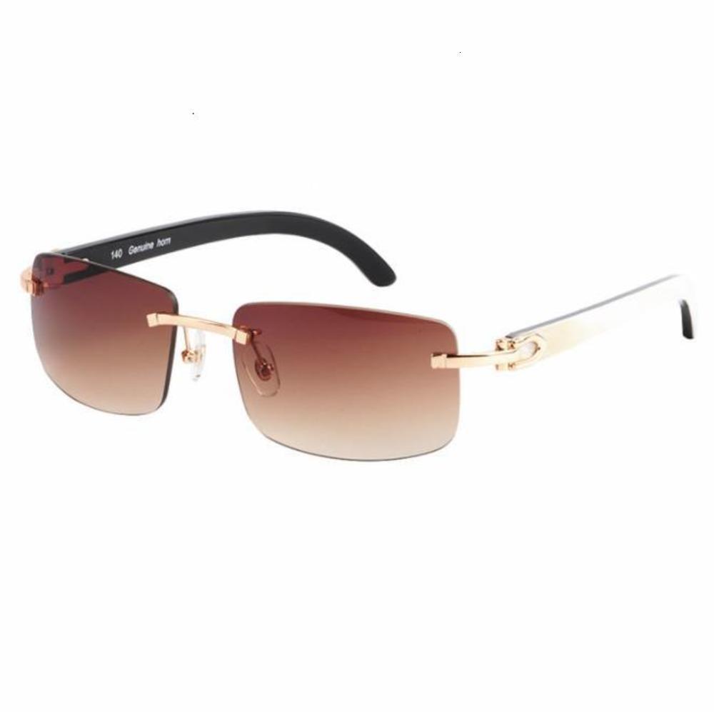 2021High Qualität Brille Rahmen Randlose Sonnenbrille Männer Runde Sonnenbrille Luxus Eyewear Brillen Büffel Horn Gläser