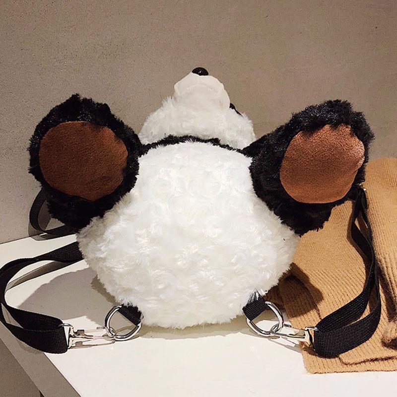 야외 가방 2021 패션 여성 소녀 소녀 지퍼 배낭 봉 제 팬더 학교 가방 여행을위한 부모 - 자식 선물 조정 가능한 어깨 끈