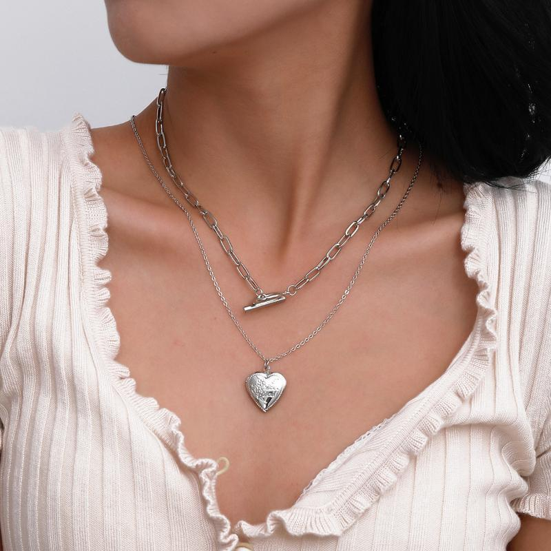 ins هندسة ot مشبك القلب قلادة قلادة الأزياء قلادة للنساء مجوهرات طوق الهيب هوب خمر المعادن ضوء سلسلة