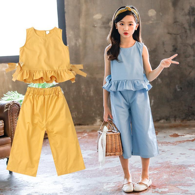 Clothing Sets Girl Summer Kids Clothes Girls Webbing Lacework Vests Pants Suit Teenage 4 6 8 10 12 Year Old