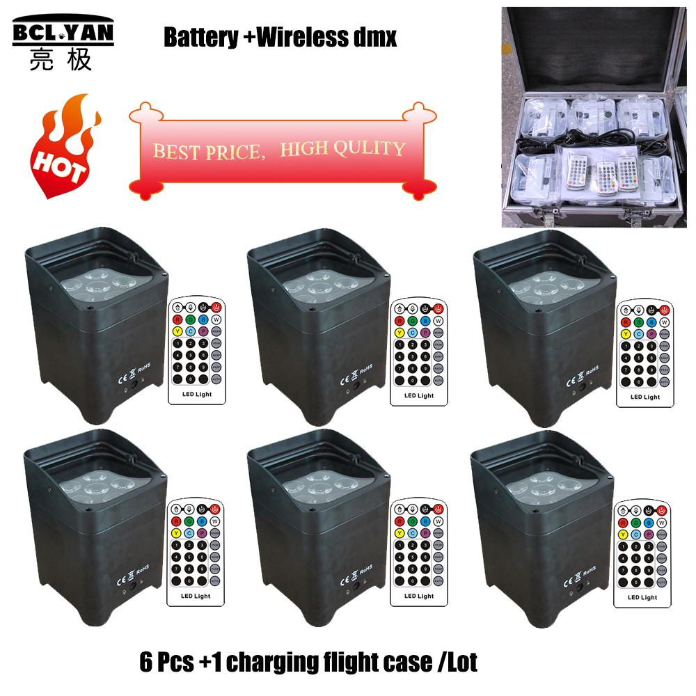 6x18w rgbwauv 6 in 1 battery power wireless dmx home party disco lights mini led slim par can