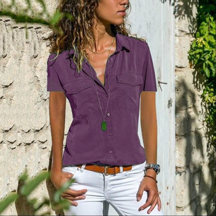 Womens Cotton Shirt Tops Blouses Autumn Short Sleeve Solid V Neck Office Blouse Work Women Button Up Plus Size 8XL