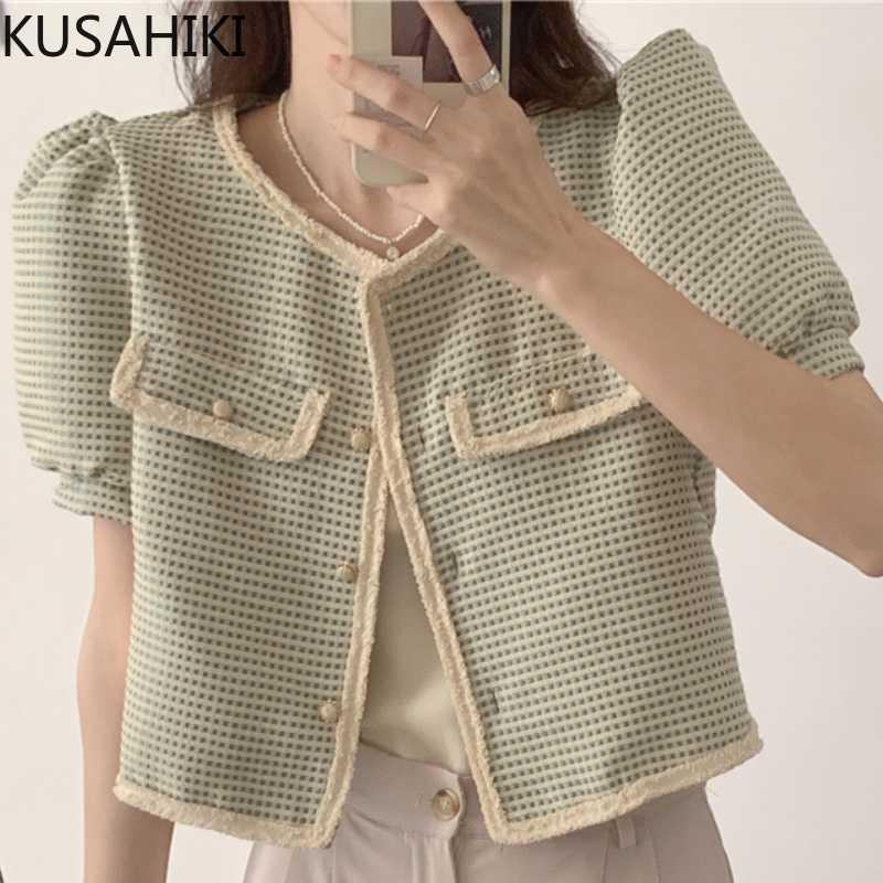 Koreanische Laternenhülse Elegante Frau Jacke Kausal Einreiher Kurzer Mantel Kontrastfarbe Mode Outwear 6H409 210603