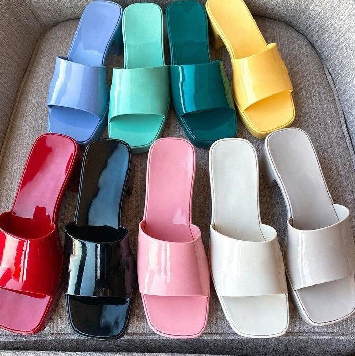 Tasarımcılar Moda Jöle Işık Deri Seksi Terlik Yaz Plaj Ayakkabı Kadın Sandalet Yüksek Topuklu Kauçuk Slayt Sandal 35-41