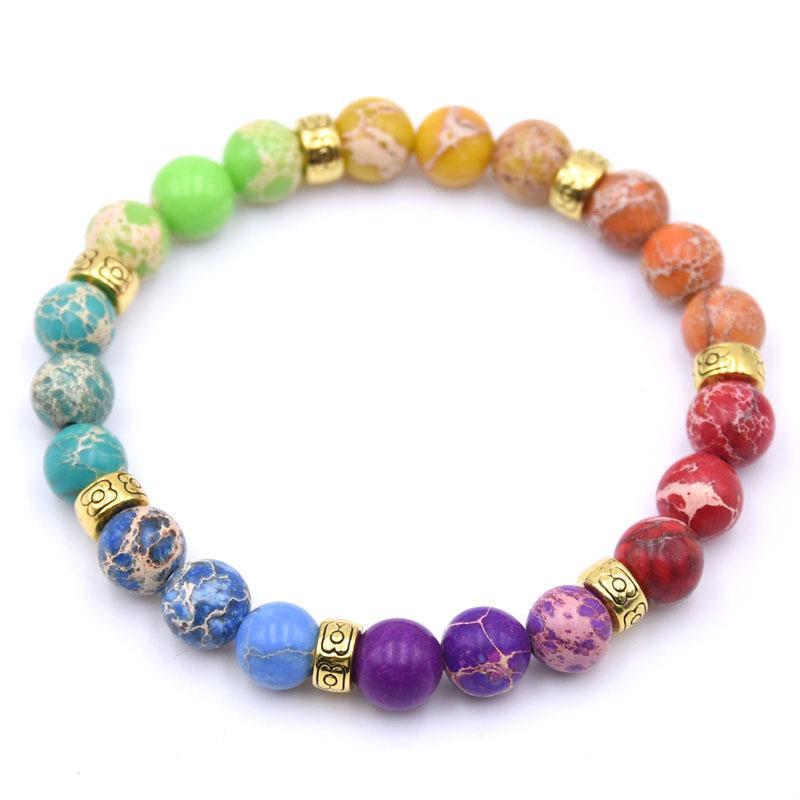 Beaded, Strands 2021 Year Gift 7 Chakra Mala Bracelet Womens Yoga Healing Beads Charka Beaded Jewelry Gifts For Her