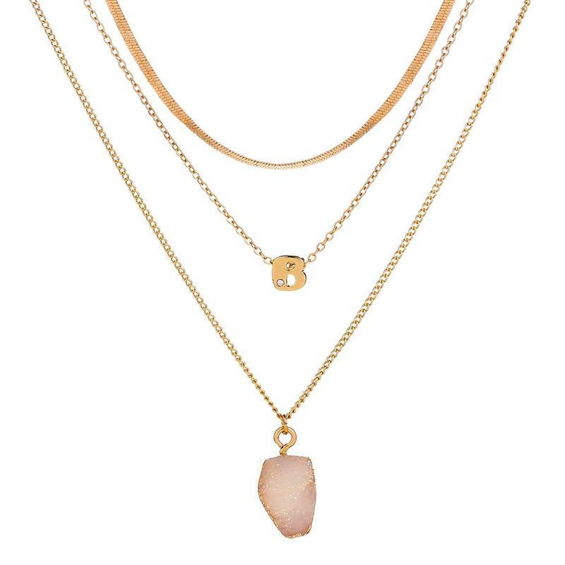 Нерегулярные кристалл Druse подвеска ожерелье золотые цепи многослойные ожерелья колье женщины мода ювелирные изделия будут и песчаные