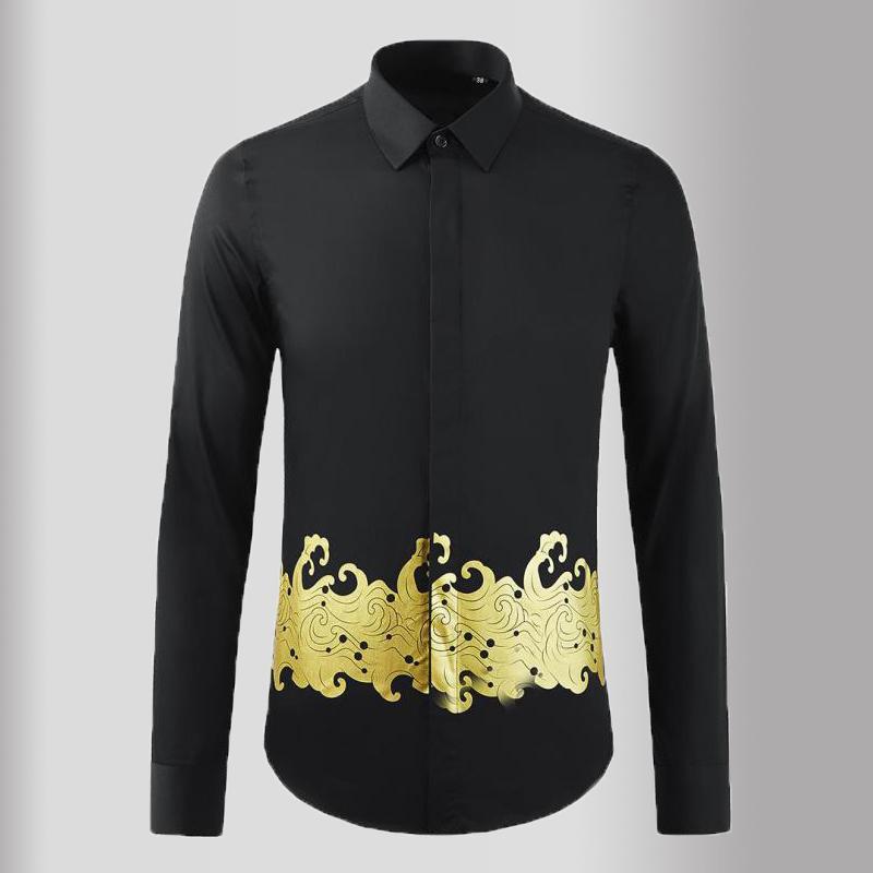 클래식 블랙 망 셔츠 럭셔리 긴 소매 골드 인쇄 캐주얼 드레스 고품질 슬림 피트 파티 남자 3XL 남자