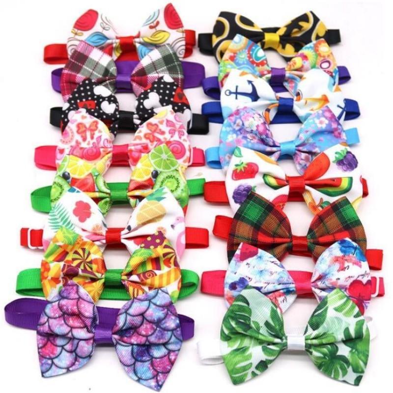 Toptan Pet Köpek Giyim Bowties Kravatlar Meyve Tarzı Şerit Küçük Kedi Ayarlanabilir Kayış Papyon Yaz Malzemeleri