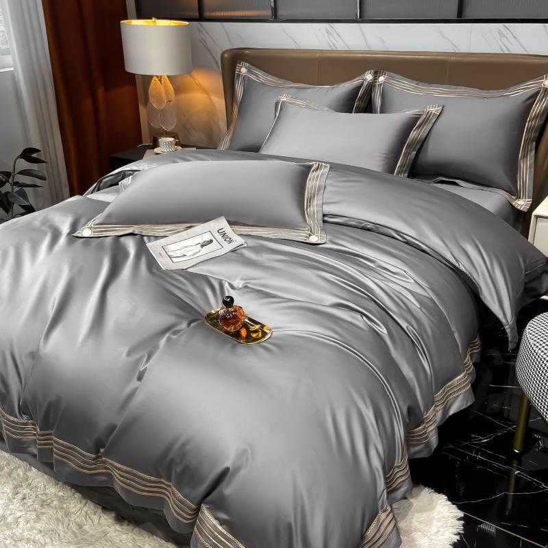 Conjuntos de cama Europa cetim edredom conjunto de luxo cama cinza bordado rainha king size edredom tampa Red linho 4 pcs