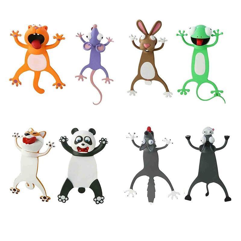 Bookmark 2pcs Animal Marcadores Estéreo Estéreo 3D Precioso Estudiante Divertido Papelería Regalo para niños