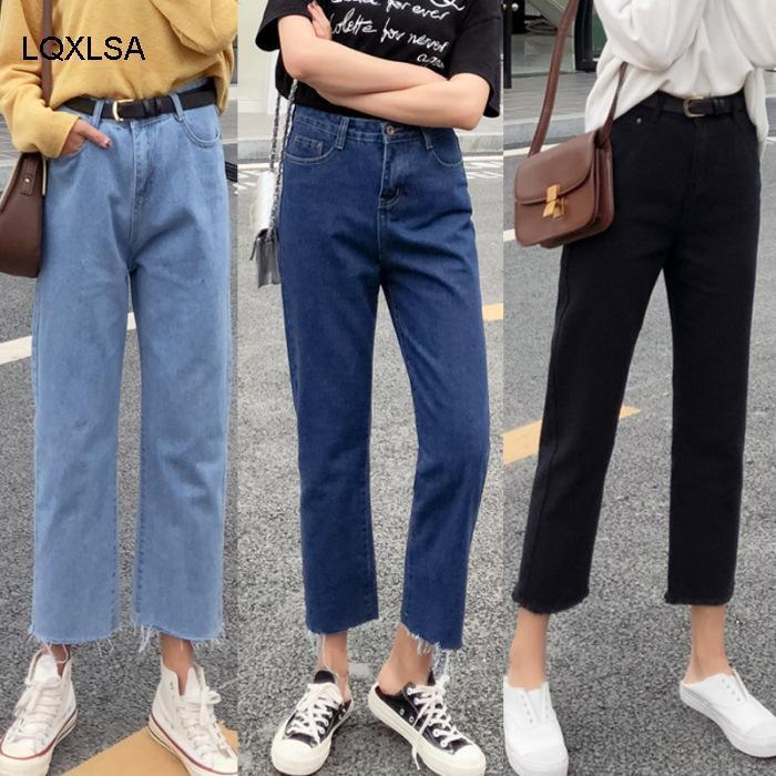 Летняя высокая талия плотные тощие обрезанные джинсы | 119149653 Женские
