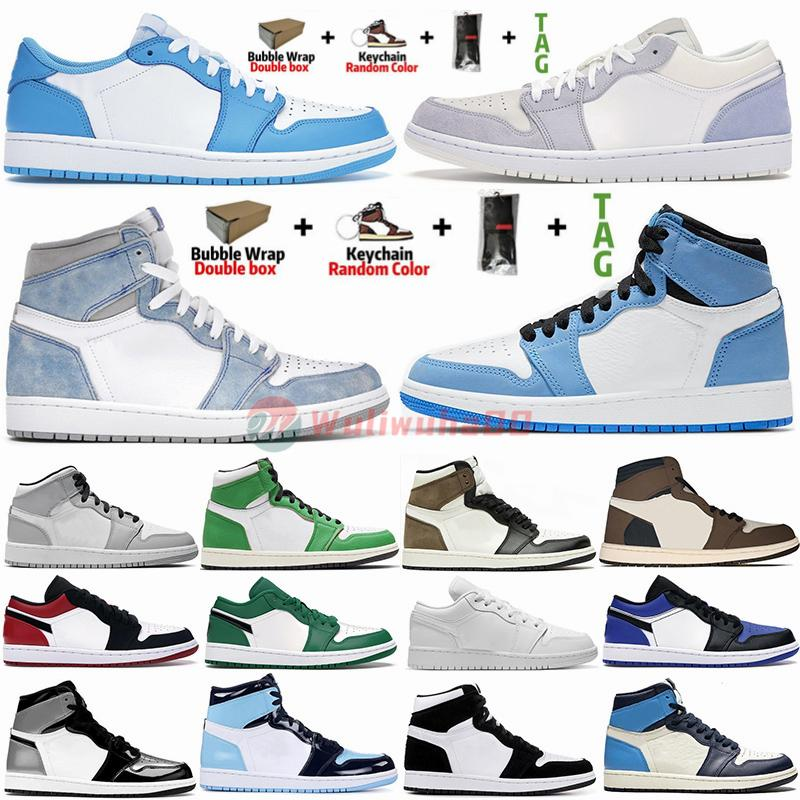Jordan Air Retro 1 20ss com caixa Meias Jumpman Trainers 1s baixa Preto Paris Toe Cement UNC Chicago Travis Scotts 1 Mens tênis de basquete Sneakers Mulheres Esportes