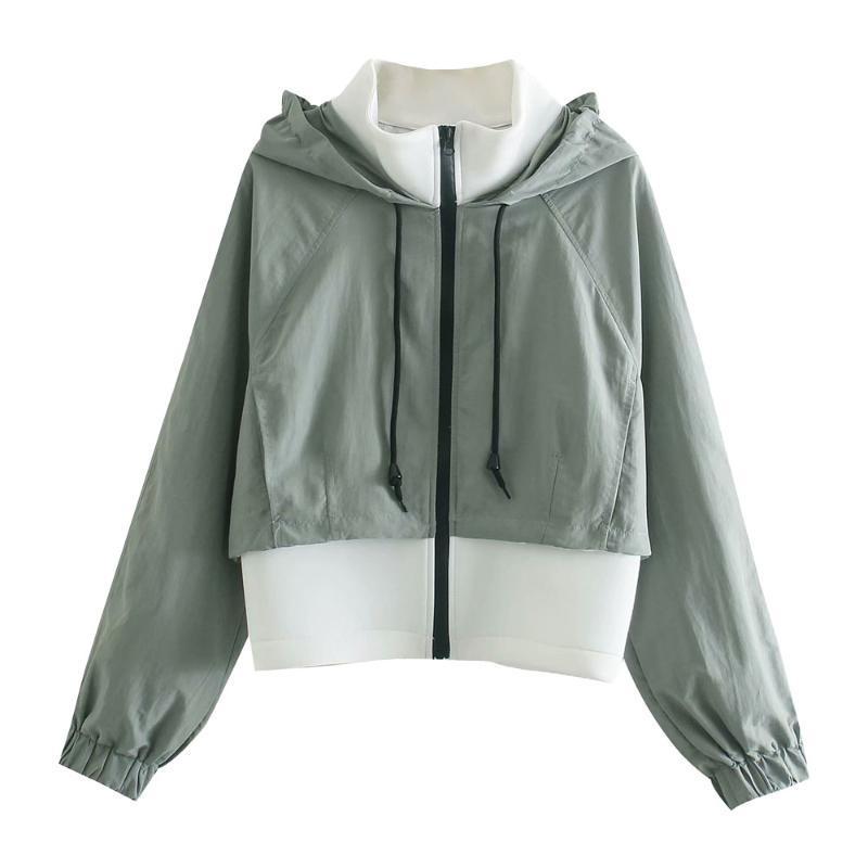 Kadın Ceket Bahar 2021 Yüksek boyunlu Kapşonlu Retro Rahat Tüm Maç Chic Kısa Ince Dikiş Uzun Kollu Kadın Ceketler