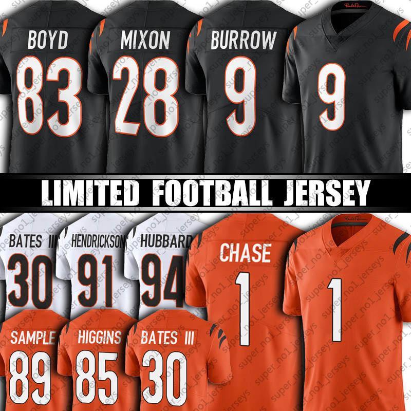 "9 Joe Burrow Mixon 1 Ja'Marr Chase Jersey JaMarr 85 Tee Higgins Jessie Bates III Tyler Boyd Football Jerseys Sam Hubbard Cincinnati""Bengals""24 Vonn Bell"