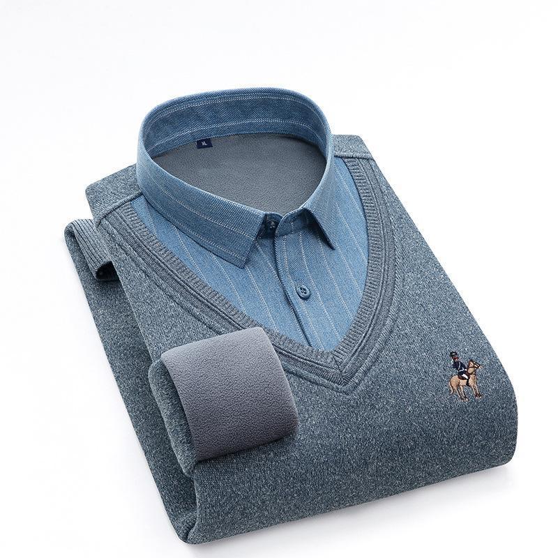 고품질의 더블 칼라 가을과 겨울 남성 가짜 2 조각 긴팔 캐주얼 따뜻한 두꺼운 플러스 벨벳 냉간 증거 셔츠 남성